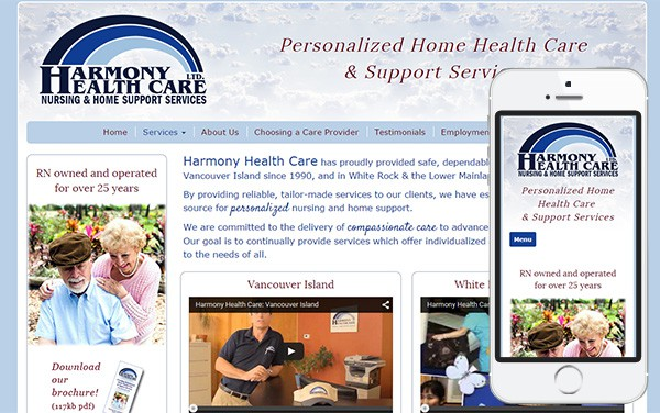 Harmony Health Care Mobile Friendly Website